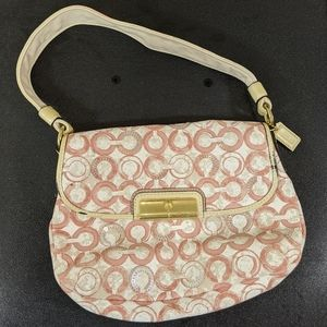 Pink, Beige, and White Coach Bag